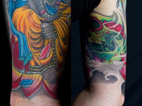 Detial of Ganesh and hybrid sugar skull tattoo