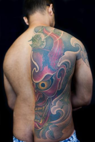 Hannya mask back tattoo
