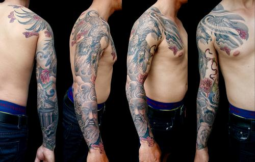 Eagle, maple leaves, Pantheon and Zeus full sleeve tattoo