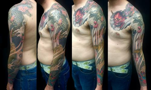 Hannya mask chest plate and Sakura, Koi and Lotus sleeve