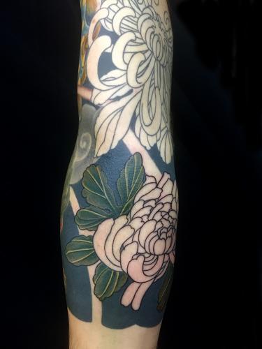Work in progress – Chrysanthemum sleeve tattoo