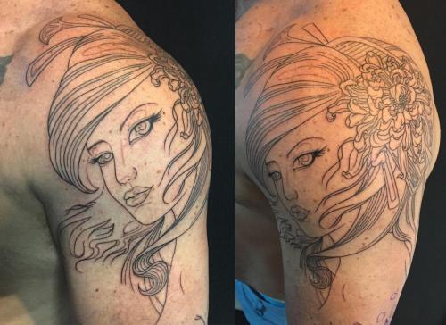 Work in progress – Outline of Geisha and chrysanthemum tattoo