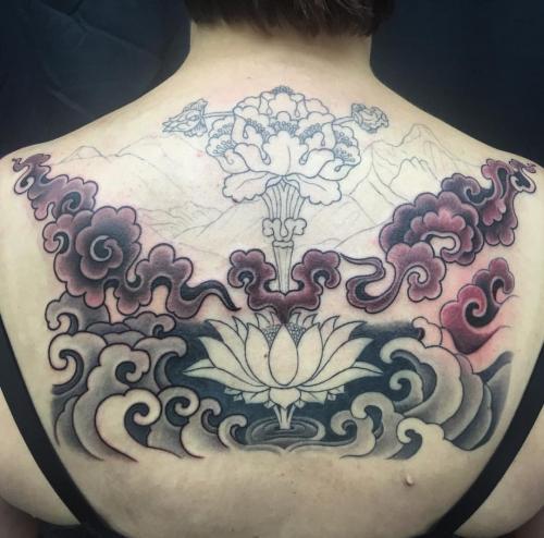 Work in progress – Lotus and waves oriental tattoo