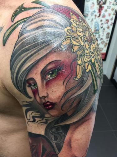 Work in Progress – Geisha with Shikami Mask close up